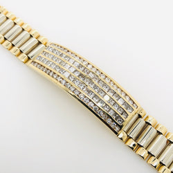 14kt Yellow Gold Diamond Cuff & President Style Link 6.8ct