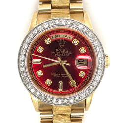 Rolex President Daydate Yellow Gold Bark Band Red Diamond Dial Diamond Bezel