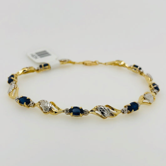 14kt Yellow Gold Sapphire & Diamond Tennis Bracelet