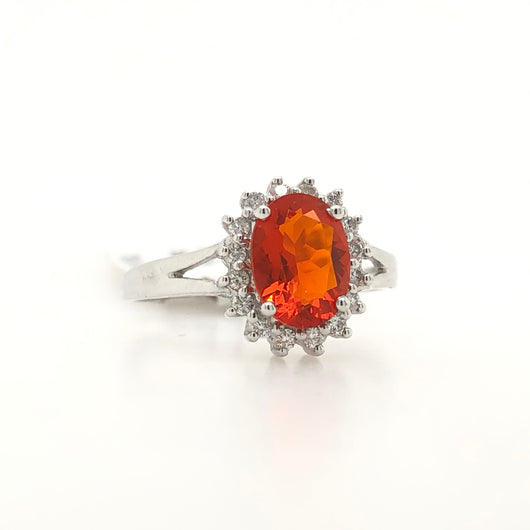 14kt White Gold Fire Opal Diamond Halo Womens Ring