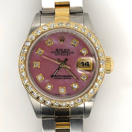 Rolex Vintage Datejust Lady 26mm Pink Mother of Pearl Dial Diamond Bezel Yellow Gold & Steel Oyster Band 69173