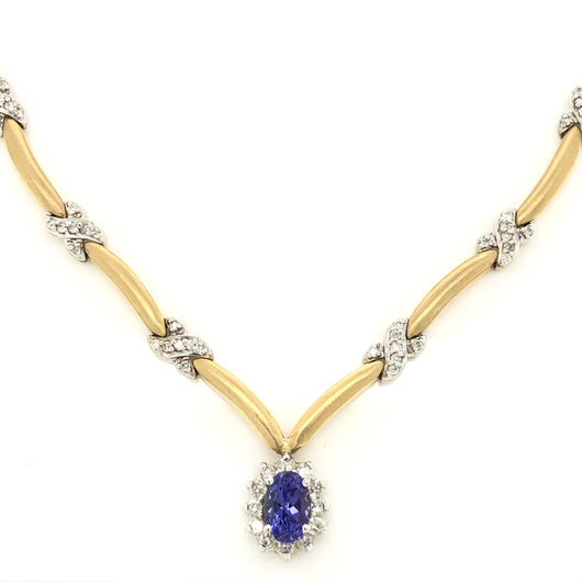 14kt White & Yellow Gold Tanzanite with Diamond Halo Diamond Necklace