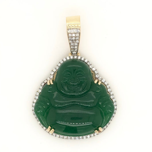 10kt Yellow Gold Jade Budda Pendant .50ct