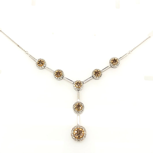 14kt White Gold Chocolate Diamond Cluster & Diamond Halo Y Necklace