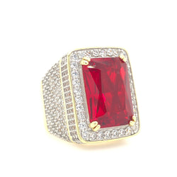 .925 18kt Yellow Gold Plated Synthetic Ruby Cz Ring