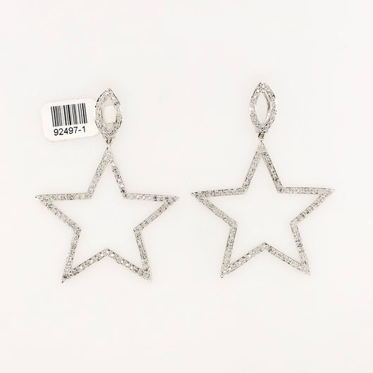 14kt White Gold Diamond Star Earrings Chandeliers 2.0ct