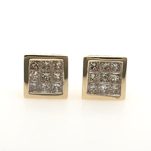 14kt Yellow Gold Square Stud Earrings 1.51ct