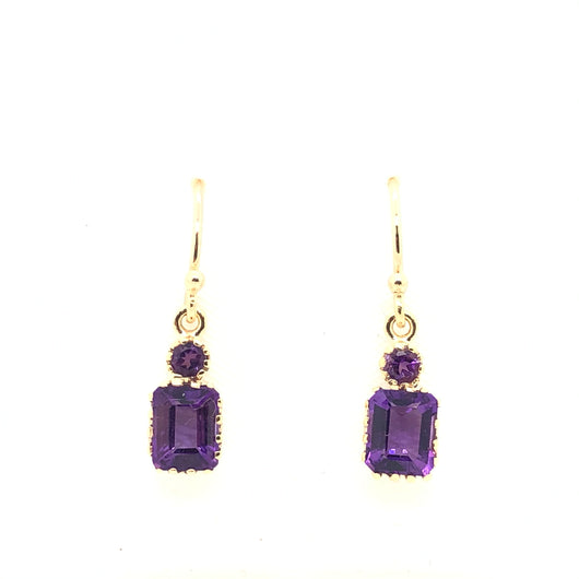 10kt Amethyst Emerald Cut Chandelier Earrings