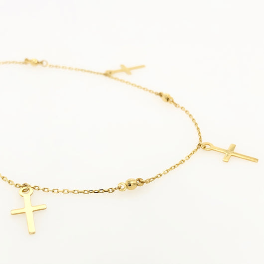 10kt Yellow Gold Cross Pattern Anklet