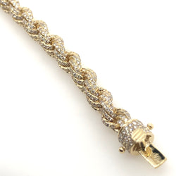 10kt Yellow Gold Diamond Rope 6mm 10.75ct Bracelet