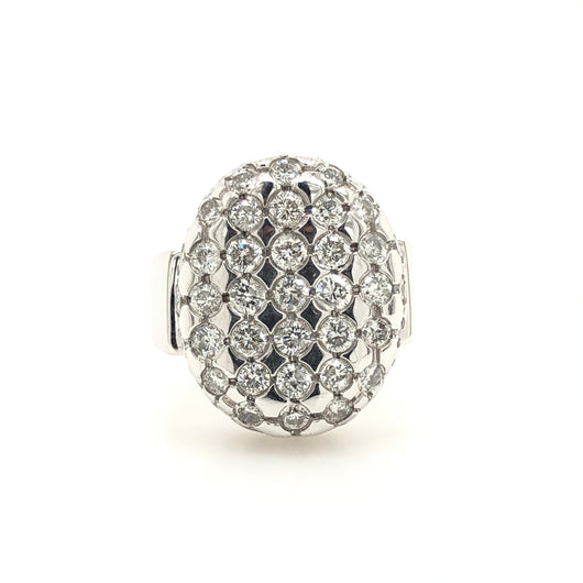 14kt White Gold Diamond Checkerboard Oval Style Ring