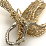 14kt Yellow & White Gold Hand Made Eagle vs Serpent