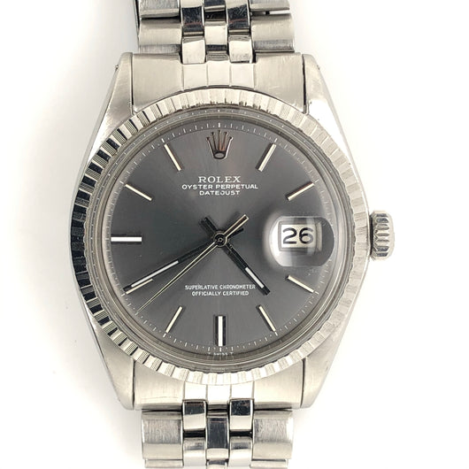 Rolex Vintage Datejust 36mm 1968 Pewter Dial Jubilee Steel Band
