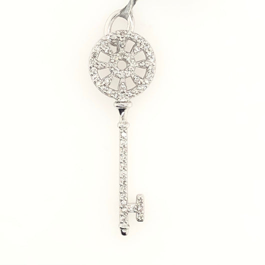 14kt White Gold Diamond Key 1.5 Inch .26 ct
