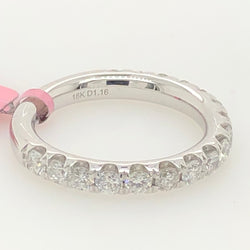 18kt White Gold Round Diamond Semi Eternity Wedding Band