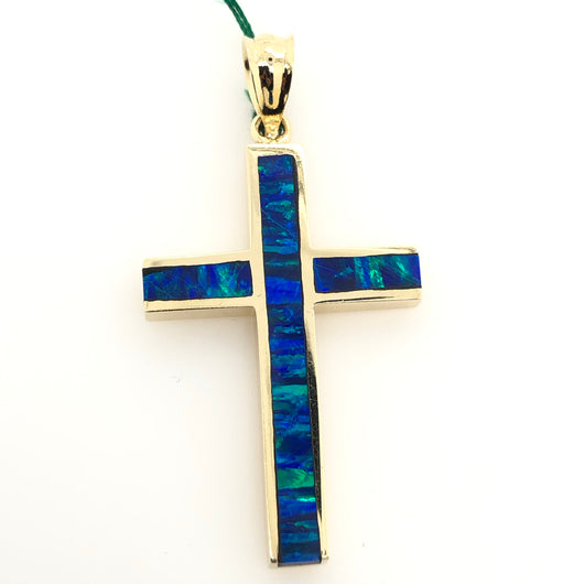 14kt Yellow Gold Opal Inlay Cross 1.5 Inch