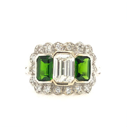 14kt White Gold Diamond & Green Tourmaline Women's Ring 130917