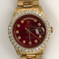 Rolex President Daydate Yellow Gold Red Diamond Dial Diamond Bezel