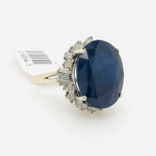 14kt White Gold 21.6ct Blue Sapphire Cocktail Womens Ring