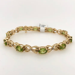 14kt Yellow Gold Peridot Gemstone Tennis Bracelet