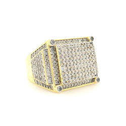 .925 18kt Yellow Gold Plated Cz Mens Ring