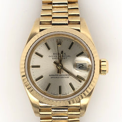 Rolex 18kt Yellow Gold Ladies 26mm DateJust President Band Gold Dial