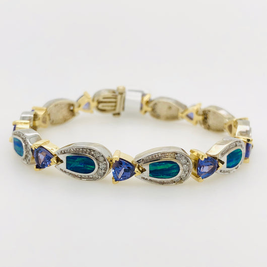 14kt White & Yellow Gold 6.00ct Tanzanite & Opal Tennis Bracelet