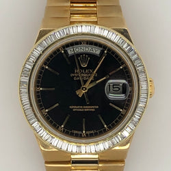 Rolex Quartz Daydate Yellow Gold Black Dial Baguette Diamond Dial