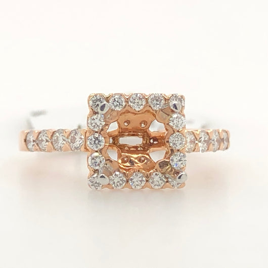 14kt Rose Gold Square Halo Diamond Engagement Ring 035178