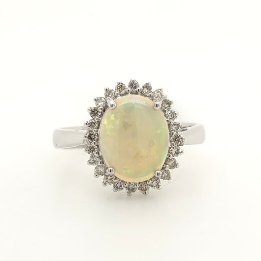 14kt White Gold 1.90ct Opal Diamond Halo Womens Ring 62490