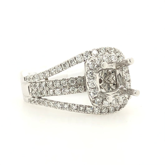 14kt White Gold Round Diamond Pave Wide Band Engagement Ring