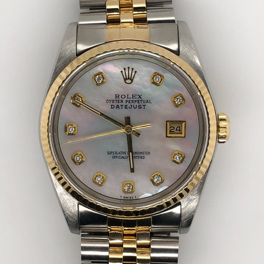 Rolex Datejust 36mm Mother of Pearl Yellow Gold & Steel Jubilee Band