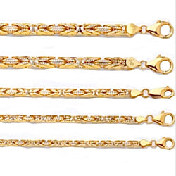 10kt Yellow Gold Pave Byzantine Chains