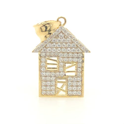 10kt Yellow Gold Trap House CZ Pendant