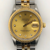Rolex Vintage Date 36mm Gold Dial with Diamond Jubilee Band