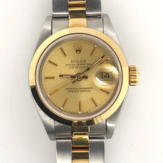 Rolex Vintage Datejust Lady 26mm Gold Dial Yellow Gold & Steel Oyster Band 69163