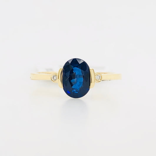 14kt Yellow Gold Sapphire Modern Minimalist Women's Ring