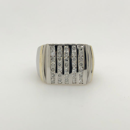 14kt White Gold 1.23ct Domed Column Style Mens Ring