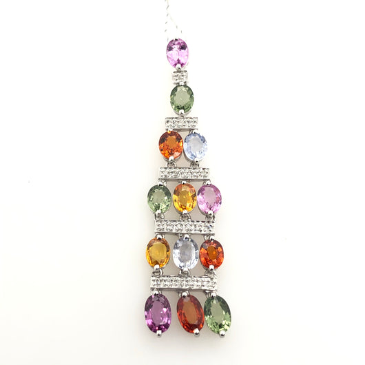 14kt White Gold Diamond & Multicolored Sapphire Pendant
