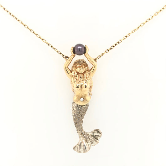 14kt Yellow Gold Diamond & Pearl Mermaid Silver Tail Necklace