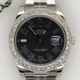 New Model Rolex Datejust II 41mm 4.50ct Diamond Bezel Roman Dial Oyster Band