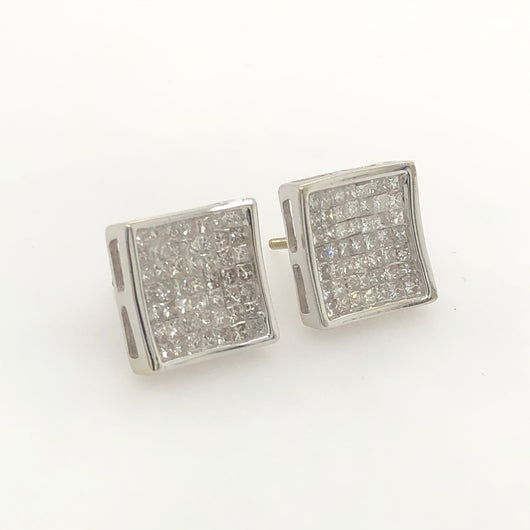 14kt White Gold Square Diamond Studs Earrings 1.0ct