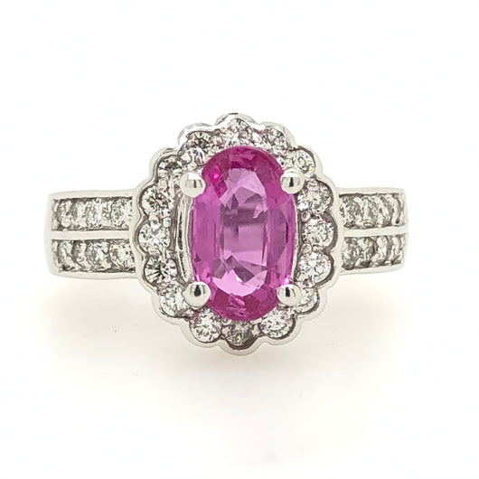 14kt White Gold 1.80ct Oval Pink Sapphire With Diamonds .75ct Womens Ring