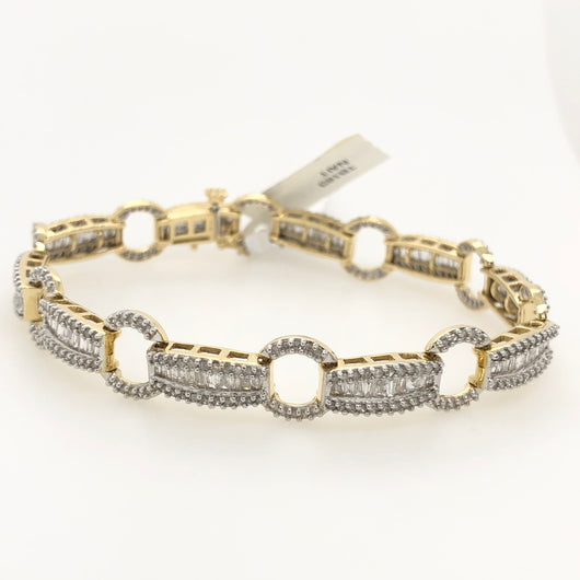 14kt Yellow Gold Diamond Baguette Tennis Bracelet