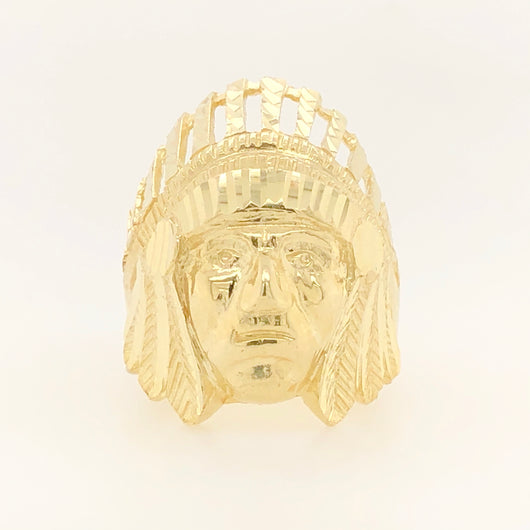 10kt Yellow Gold Native American Chieftain Mens Ring Diamond Cut