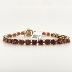 14kt Yellow Gold Garnet Tennis Bracelet with Diamond Clasp