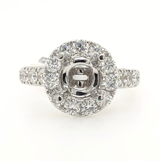 14kt White Gold Diamond Halo With Millgree Design Engagement Ring