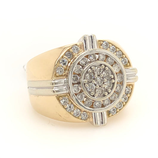 14kt Yellow Gold Diamond Dome Godfather Mens Ring 1.50ct