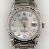 Rolex Datejust 36mm Mother of Pearl Dial Custom Diamond Oyster Steel Band