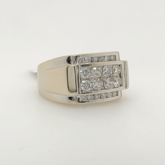 14kt White Gold 2.50ct Iced Mens Ring